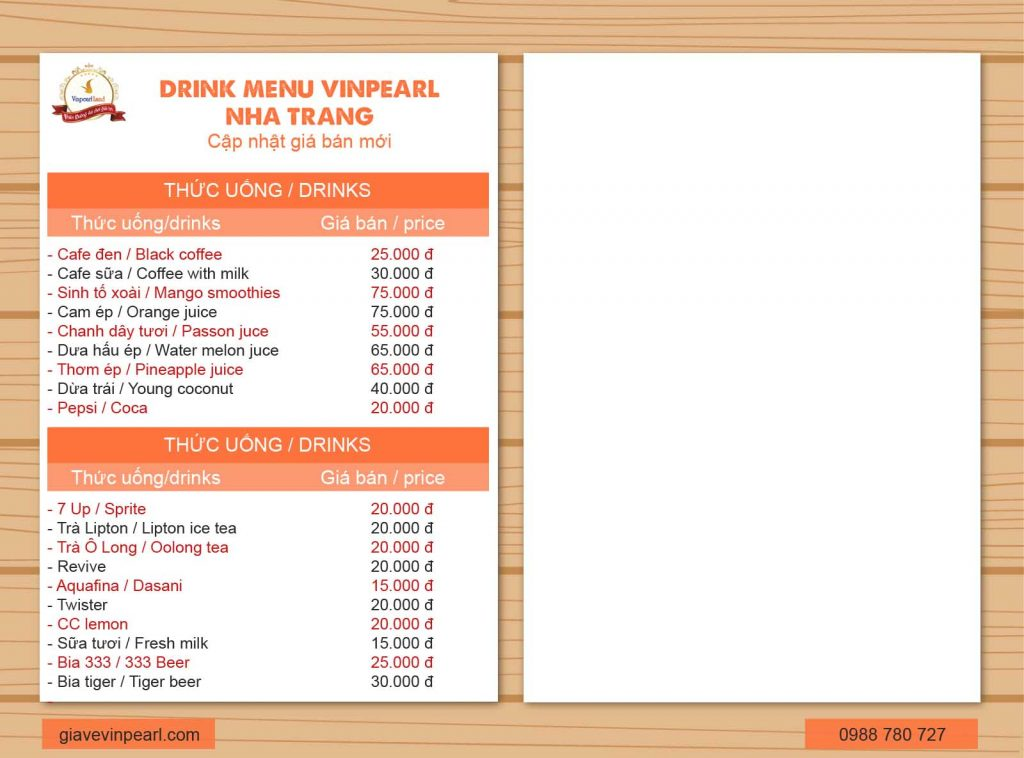 menu vinpearl nha trang 8